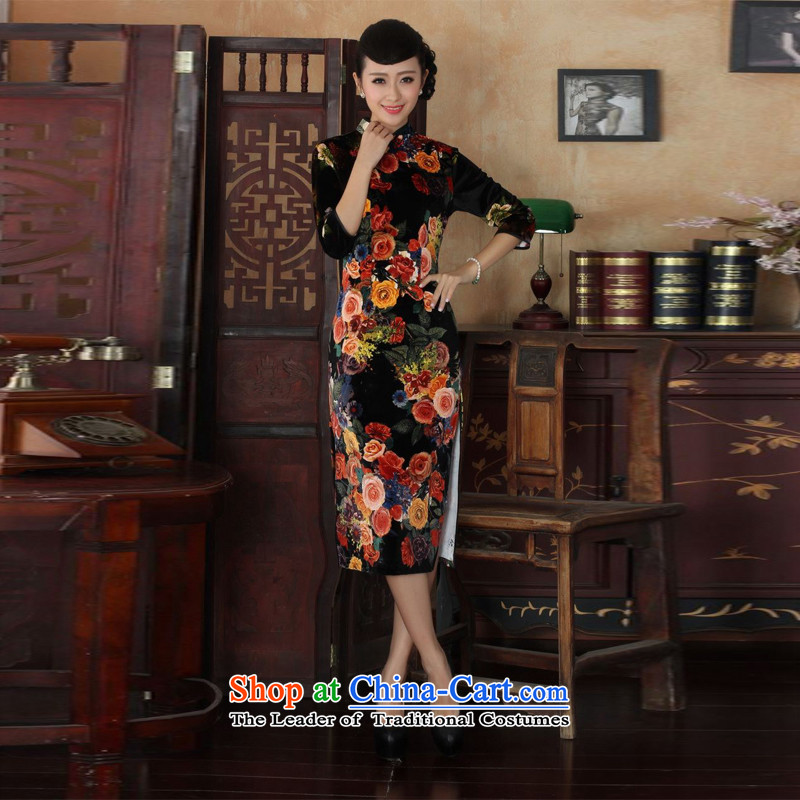 158 Jing new Superior elasticity Kim scouring pads, peony flowers long qipao gown of autumn and winter dresses picture color?M