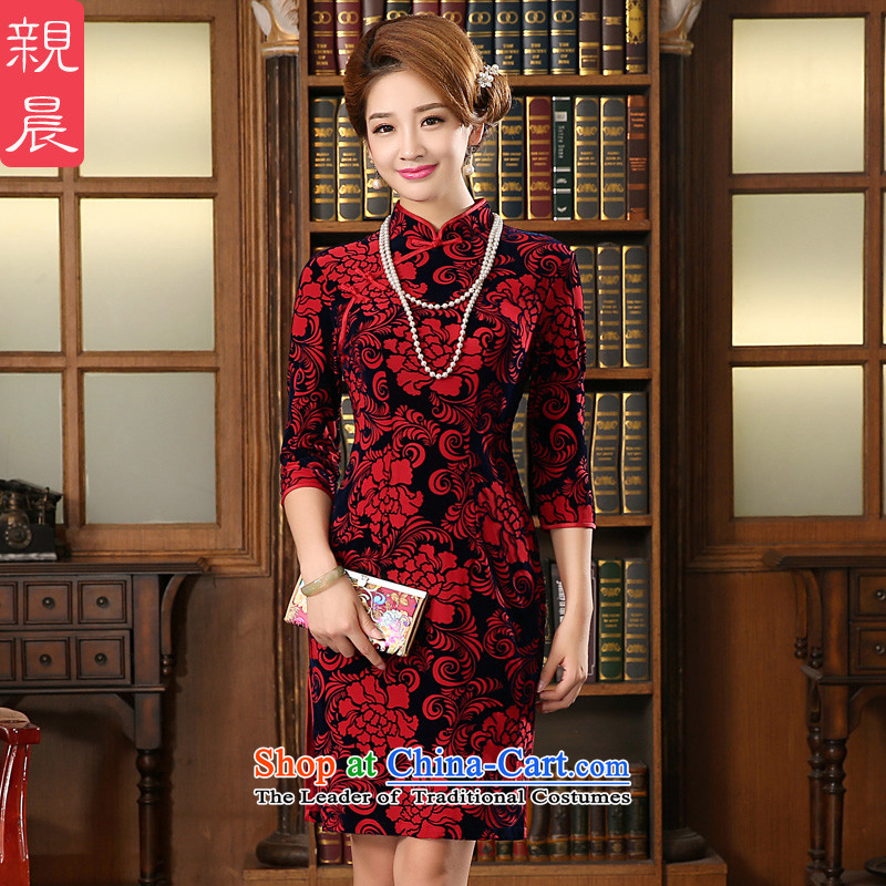 Wedding dress mother Kim scouring pads qipao replacing wedding dresses pro-am 2015 wedding celebration in the autumn of older 7 Cuff XL-waist 77cm Hold