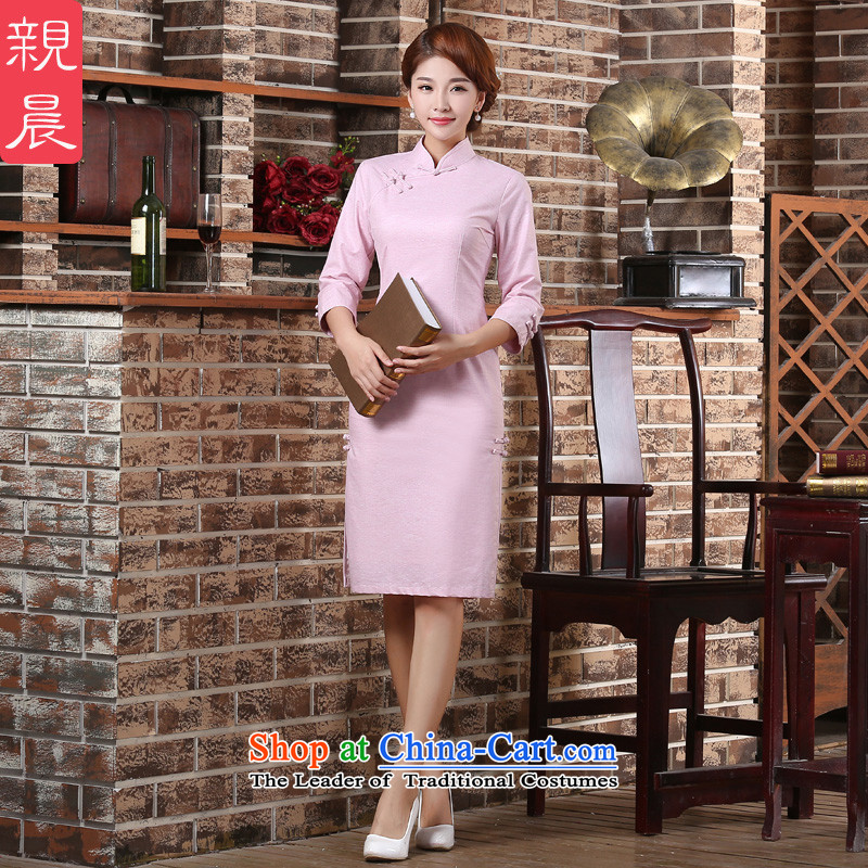 At 2015 new parent in the summer and autumn in the Cuff cotton linen arts improved stylish 7 cuff retro cheongsam dress pink M-waist 72cm- five days of