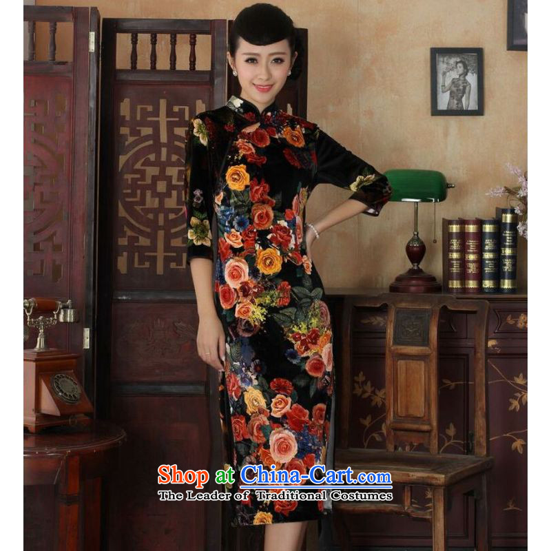 Ms Au King Mansion to new Superior elasticity Kim scouring pads, peony flowers long qipao gown of autumn and winter dresses picture color�L