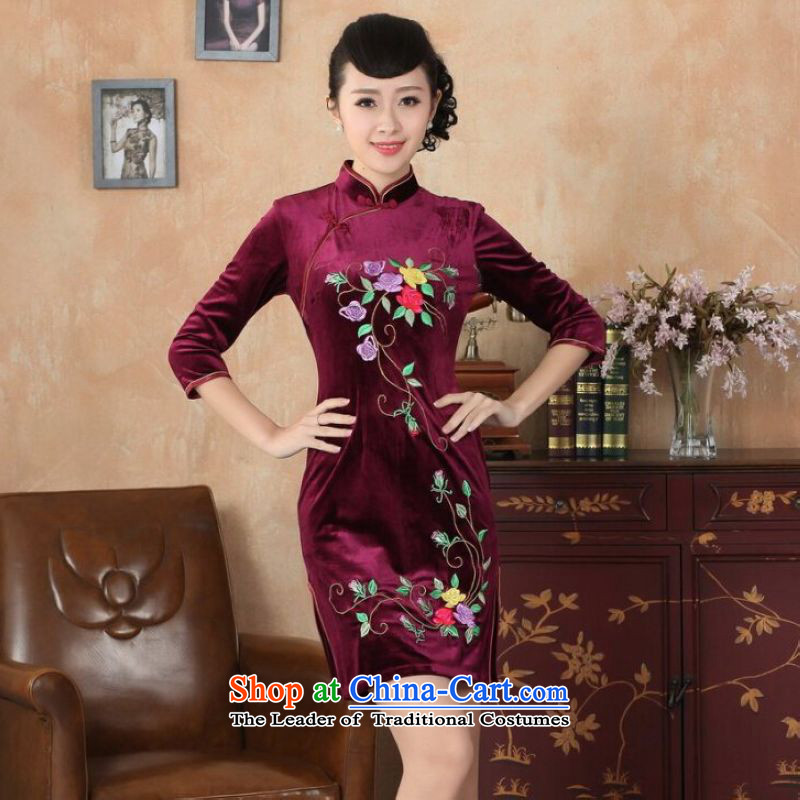 Shanghai, optimize the purchase of new, superior Stretch Wool qipao seven gold Autumn and Winter, dresses cuff dresses wine red?2XL