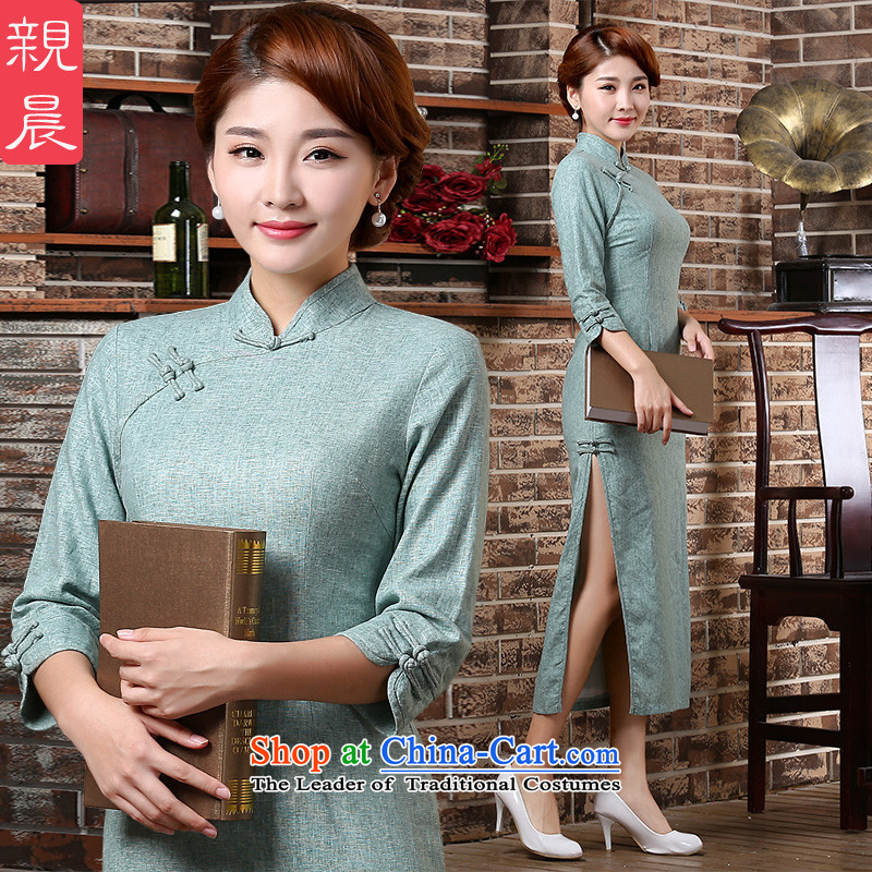 �� pro-am as soon as possible in the autumn of 2015, new long-sleeved arts 7 cuff wind-retro cheongsam dress light blue?2XL- waist length and 84cm