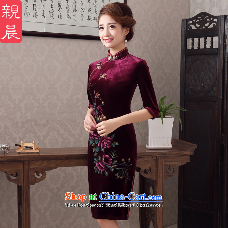 The new summer and fall of 2015 Kim scouring pads qipao skirt improvement in older cuff wedding wedding dresses with mother wine red?2XL- waist 80 cm