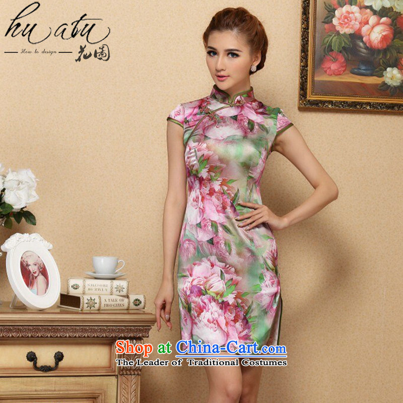 Floral qipao female Tang Dynasty Chinese collar Silk Cheongsam noble stylish herbs extract qipao gown cheongsam 995# banquet S