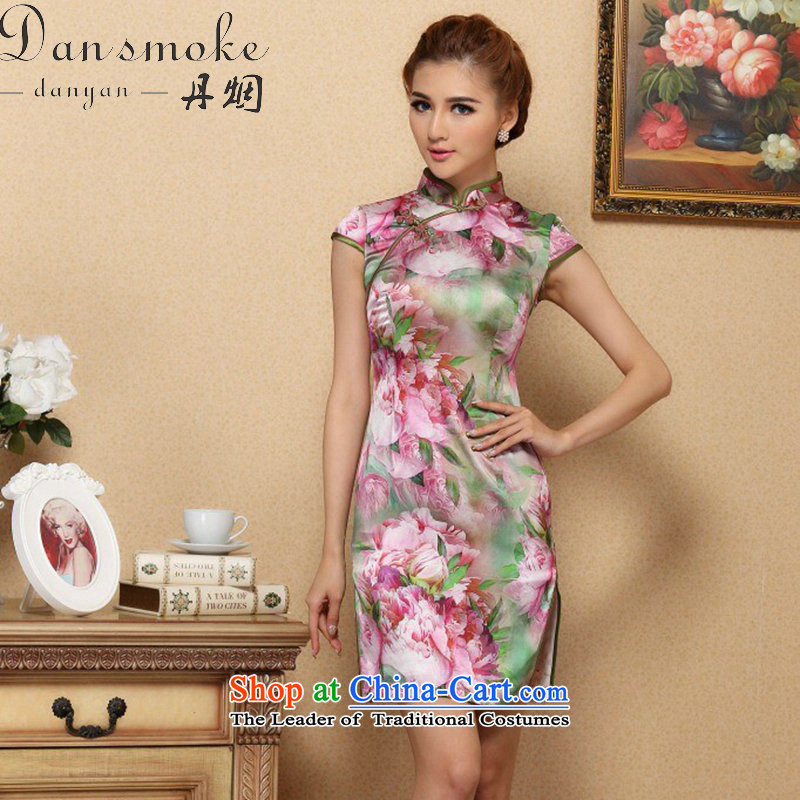 Dan smoke cheongsam dress Tang Dynasty Chinese collar Silk Cheongsam noble stylish herbs extract qipao gown cheongsam聽995_ banquet L