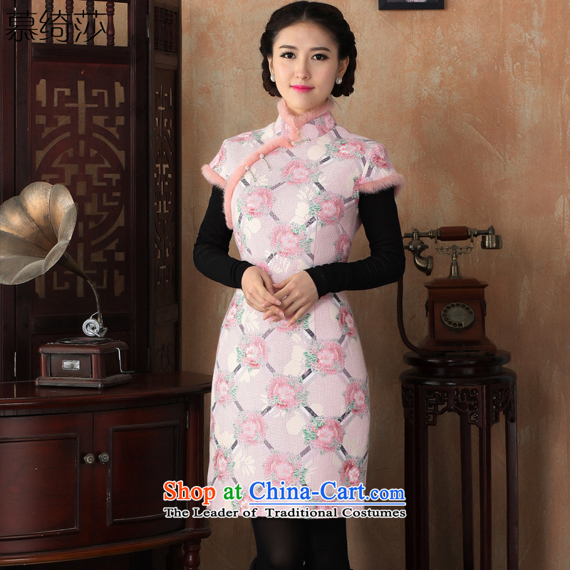 The cross-sa sunken Ngan�15 improved new qipao fall_winter collections of literature and art nouveau improved sleeveless cheongsam dress燳3228爌ink燣