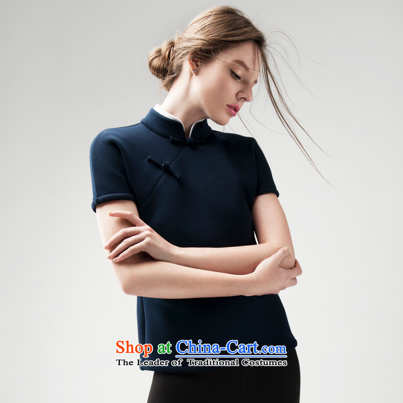 Seventy-Tang Chun short shirt qipao 2015 Chinese Tang dynasty improved female vest national wind retro Women warm thick short-sleeved new Han-ramp up tray clip art blue PUERTORRICANS small_