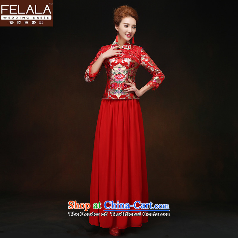 Ferrara?2015 new winter OF CHINESE CHEONGSAM long-sleeved bride bows services red?XL?Suzhou Shipment