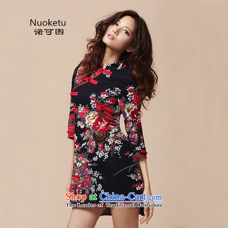 The original can be manually ethnic disc detained three-dimensional piping summer Chinese improved retro cheongsam dress black燬