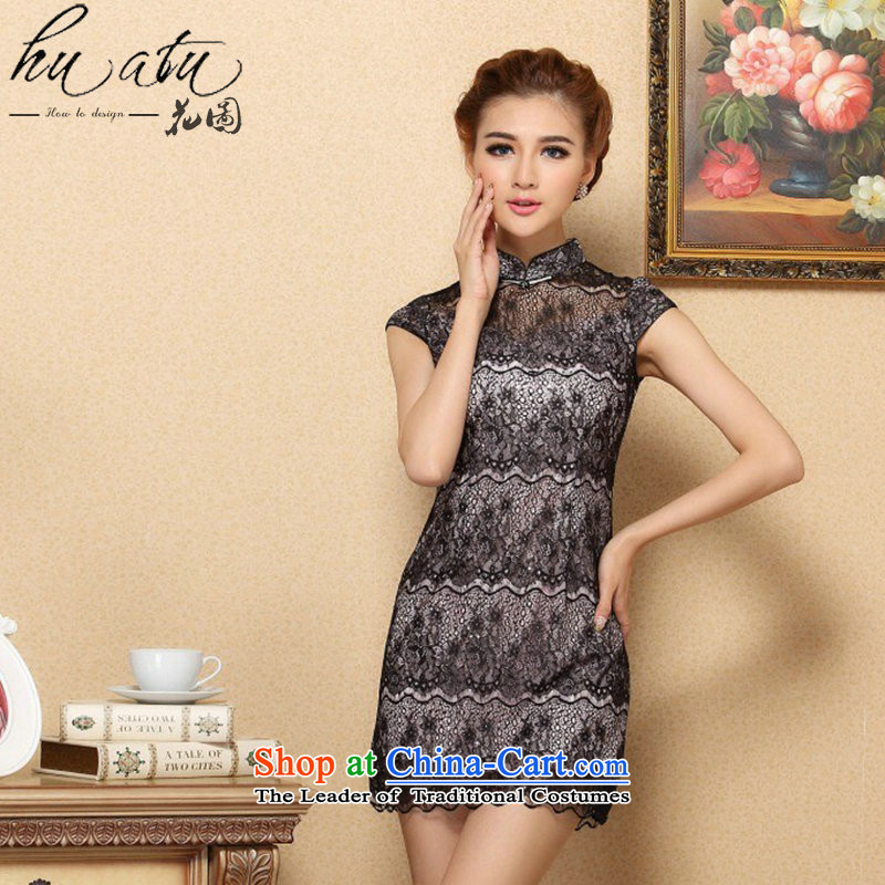 Dan smoke female qipao cheongsam dress daily stylish simplicity Chinese collar improved cheongsam dress qipao gown lace Black XL