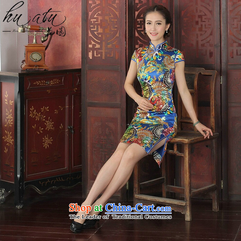 Floral qipao Tang dynasty women's stylish herbs extract qipao Chinese collar daily silk cheongsam dress banquet blue�L