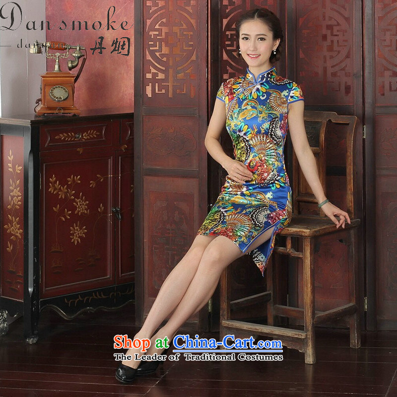 Dan smoke cheongsam dress Tang dynasty Classic style qipao Chinese herbs extract Mock-neck daily silk cheongsam dress banquet blue聽XL