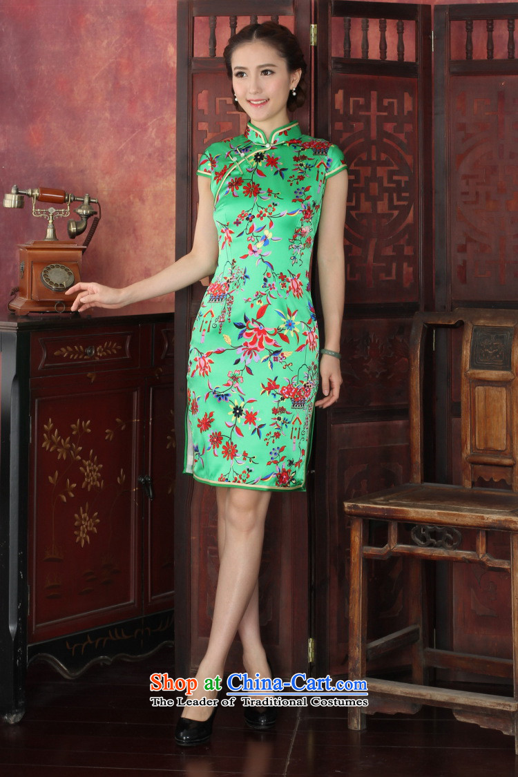 Floral qipao female western style elegant qipao herbs extract routine banquet silk cheongsam dress 1033# annual toner suit 2XL Photo, prices, brand platters! The elections are supplied in the national character of distribution, so action, buy now enjoy more preferential! As soon as possible.