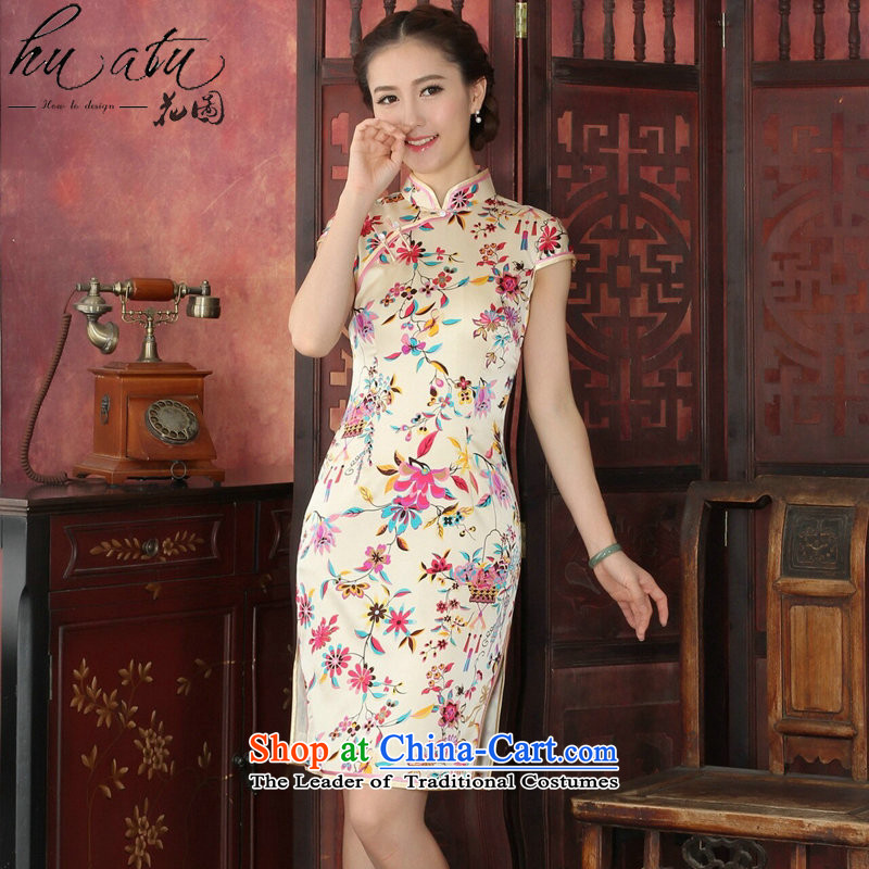 Floral qipao female western style elegant qipao herbs extract routine banquet silk cheongsam dress 1033# annual toner suit 2XL, floral shopping on the Internet has been pressed.