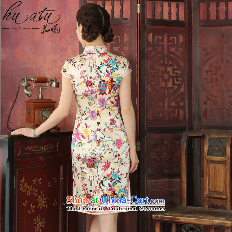 Floral qipao female western style elegant qipao herbs extract routine banquet silk cheongsam dress聽1033# annual toner suit聽2XL, floral shopping on the Internet has been pressed.