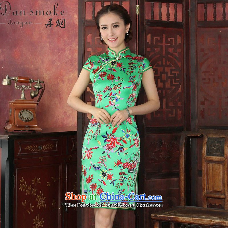 Dan smoke cheongsam dress western style elegant qipao herbs extract routine banquet silk cheongsam dress 1035_ annual green L