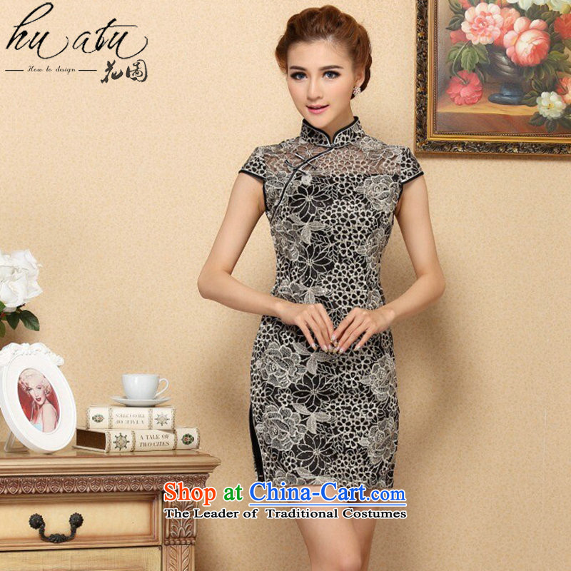 Floral qipao female Chinese improvement of the trendy lace cheongsam dress elegant lace improved banquet qipao skirt figure color?M