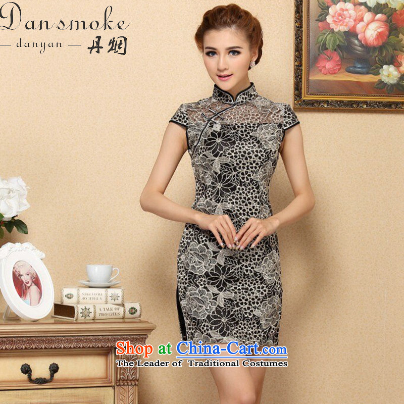 Dan smoke cheongsam dress Chinese improvement of the trendy lace cheongsam dress elegant lace improved banquet qipao skirt Figure?2XL color