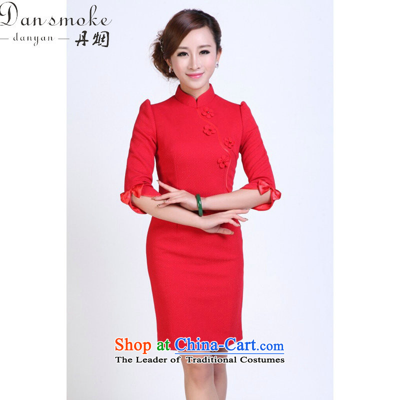 Dan smoke autumn and winter female qipao Tang Dynasty Chinese collar minimalist improved bride maschen-moden qipao gown skirt red annual?L