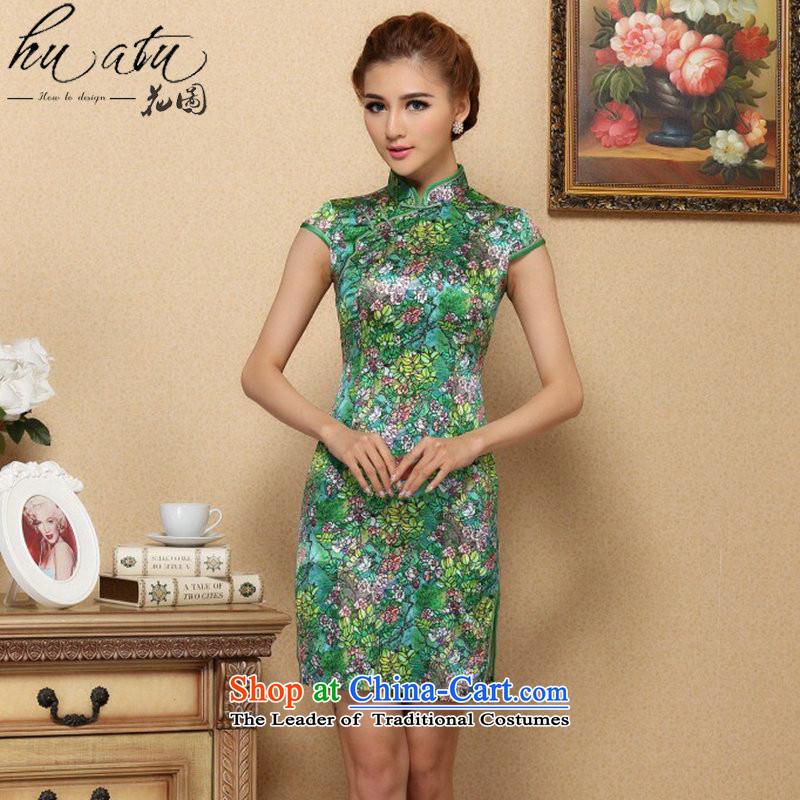 Floral women cheongsam with stylish European and American Small Tang saika herbs extract qipao sit back and relax in one of the annual meetings of the collar Silk Cheongsam green聽L