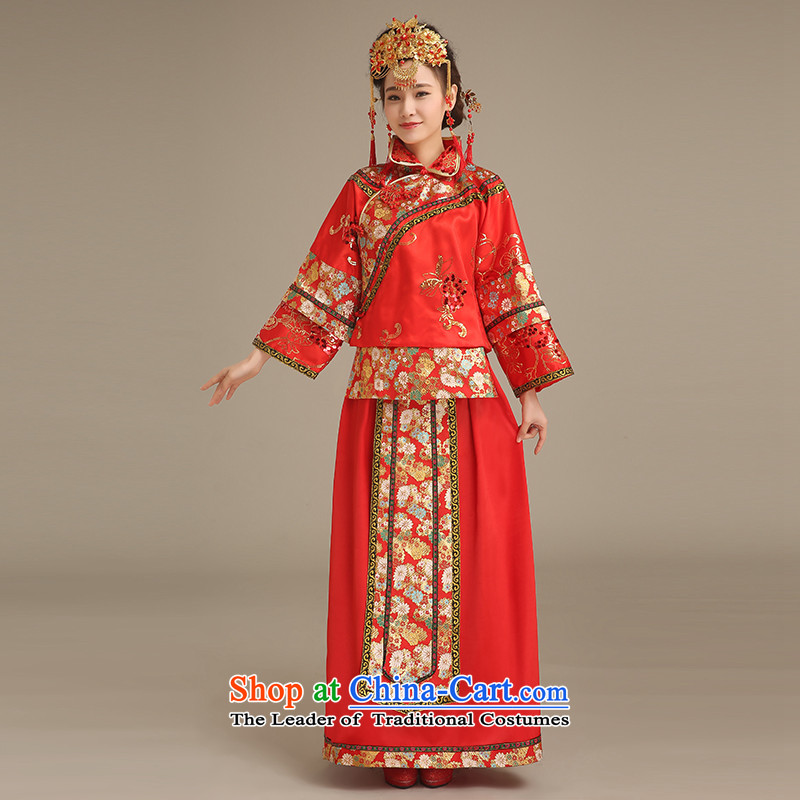 Noritsune bride bride Soo-wo service to the dragon?spring 2015 new paragraph should also stylish bows services qipao retro Chinese long qipao big five well cheongsam RED?M