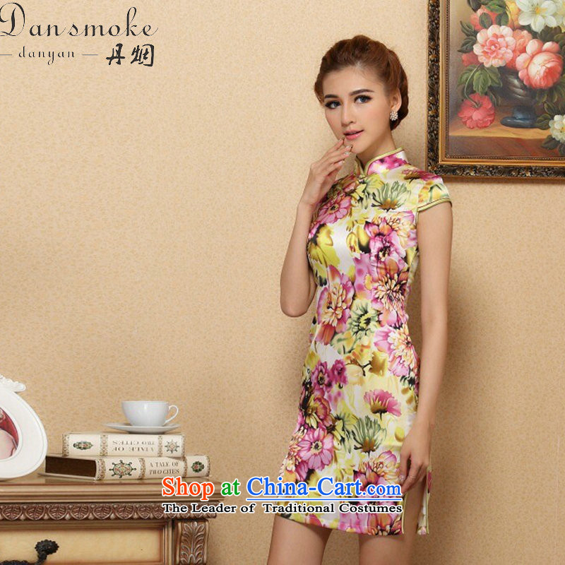 Dan smoke female cheongsam with stylish European and American Small Tang saika herbs extract qipao sit back and relax in one of the annual meetings of the collar Silk Cheongsam Figure Color S