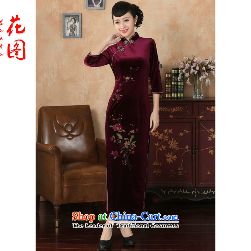 Floral autumn and winter cheongsam dress Tang Dynasty Chinese collar superior Stretch Wool qipao seven gold cuff banquet dress Figure Color?XL