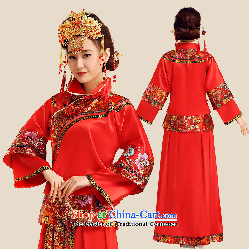 Noritsune燬pring 2015_ Bride Bride Dragon Chinese style wedding dresses use red marriage long long-sleeved clothing bows of nostalgia for the Big Five Bok-su Wo Service cheongsam red燲L