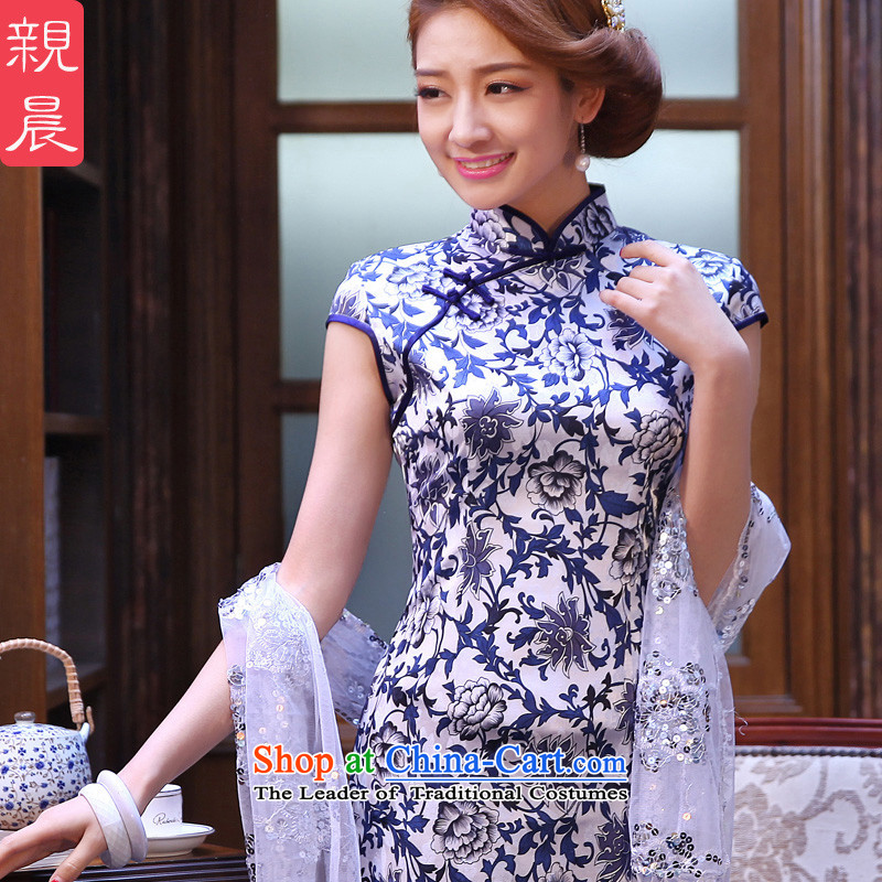 At 2015 new parent in summer and autumn porcelain daily retro style short of improved cheongsam dress dresses porcelain?2XL- waist 80 cm