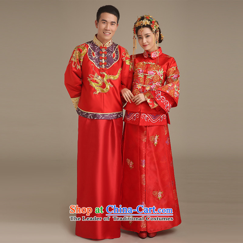 Noritsune Bride燬pring 2015 men's new Chinese wedding dresses costume show groups to serve the bridegroom longfeng use red men married cheongsam dress RED燤