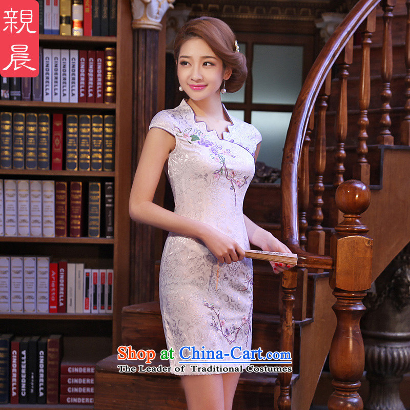 ? pro-am- 2015 new summer daily retro style short of improved cheongsam dress Sau San dresses燣-42 White
