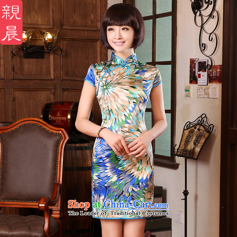 The pro-am daily 2015 new summer herbs extract short of improved Sau San retro upscale silk cheongsam dress multi-colored flowers聽2XL- leaf fine 83cm waist