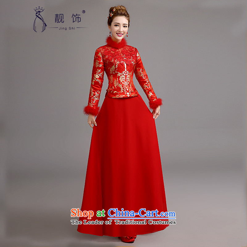 2015 new cheongsam bows services bride red retro qipao lace bows service long red winter_聽M Cheongsam