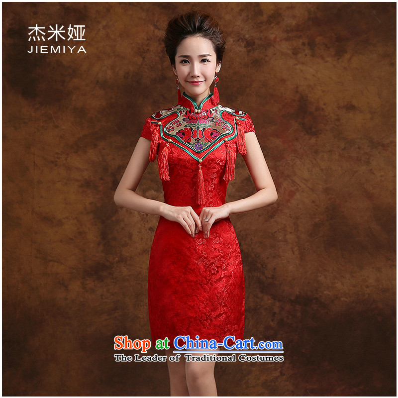 Jie mija qipao 2015 new wedding dresses bows to marry retro style red improved bride, evening dresses red燲XL
