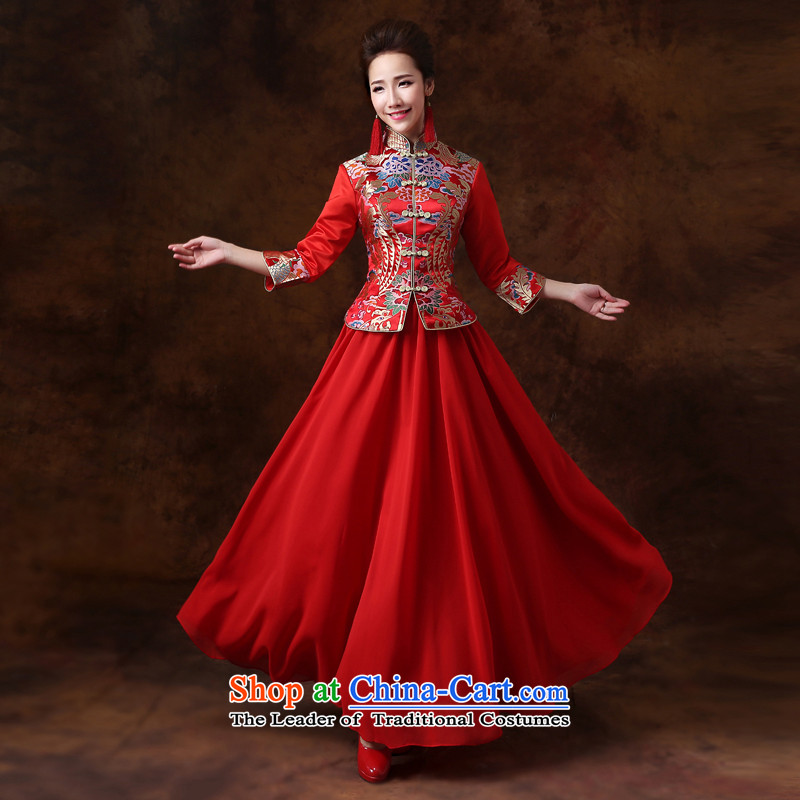 Jie mija bows services 2015 new long-sleeved qipao Sau Wo serving Chinese bride improved retro bride wedding dress red XS