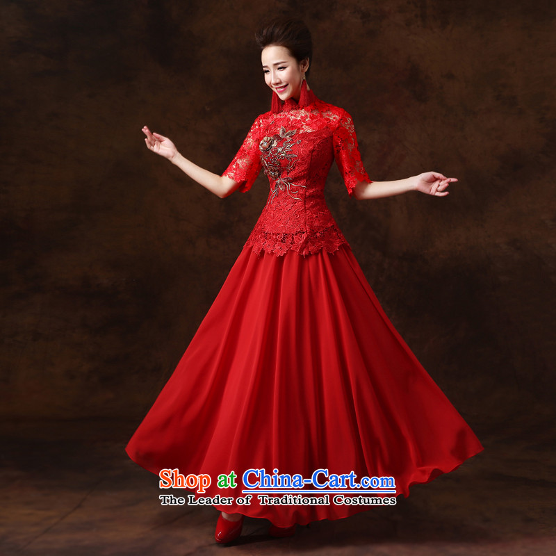 Jie mija long-sleeved qipao bows Service Bridal Fashion 2015 new marriages red long marriage chinese red color 5 Cuff S