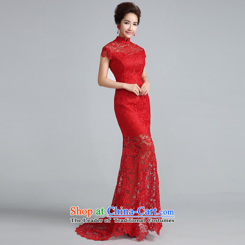 Jie mija qipao New Service Bridal Fashion 2015 bows retro red lace back crowsfoot marriage evening dresses red tail 30 cm燲S