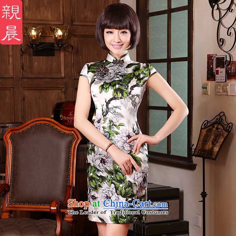 The pro-am 2015 Spring Summer upscale silk daily retro improved stylish herbs extract cheongsam dress dresses White Peony燤-waist 71cm