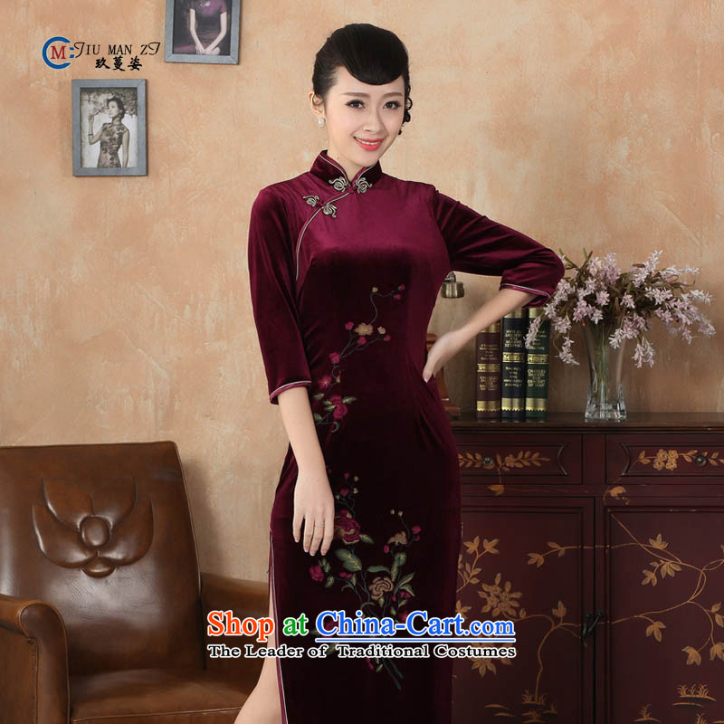 Ko Yo Overgrown Tomb in spring and autumn 2015 Gigi Lai Tang dynasty new Superior Stretch Wool stylish stand collar Kim is traversed by the disc allotted seven points cuff of the forklift truck qipao T0003 high T0003 160/M
