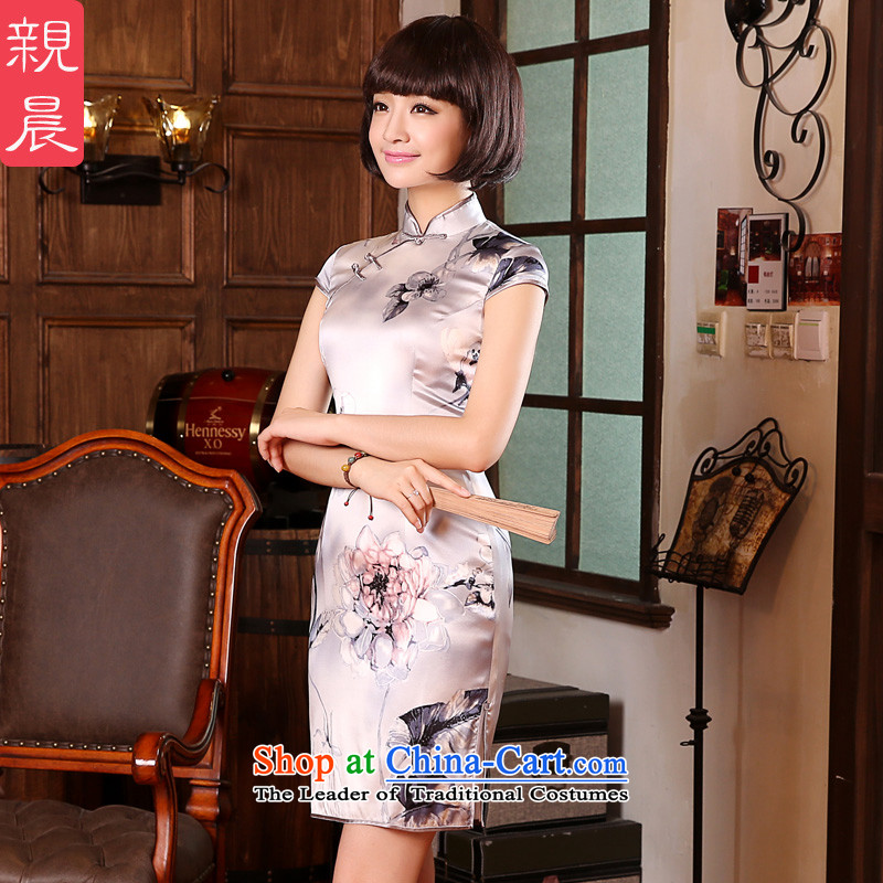 At 2015 new parent in summer and autumn day-to replace silk retro improved short of herbs extract cheongsam dress short-sleeved 2XL- waist 80 cm