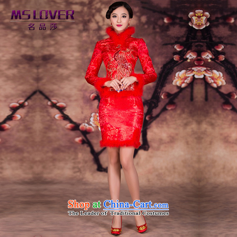 Mslover-cotton kit skirt for winter short, long-sleeved cotton qipao gown winter married bows qipao QP141207 RED?M 2 feet 1 waist