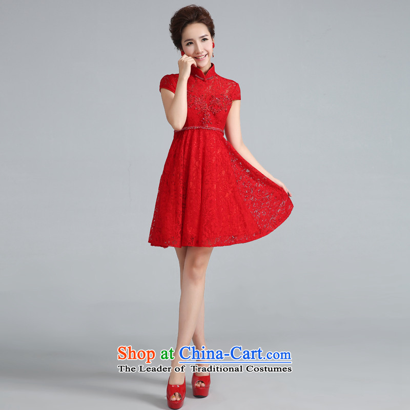 Jie Mija?2015 new cheongsam dress summer daily short qipao stylish Sau San, bows to red wedding dress RED?M