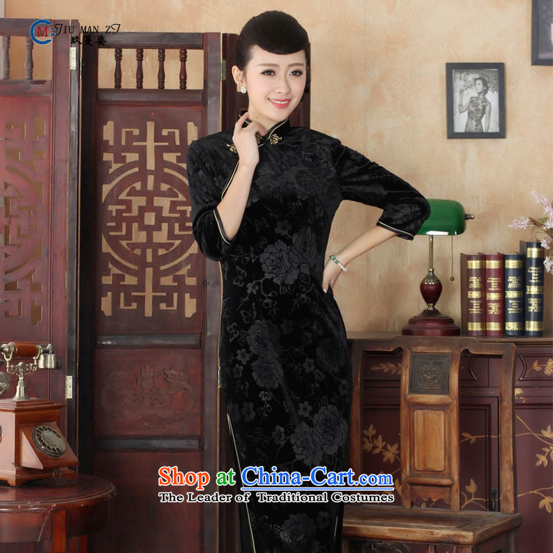 Ko Yo Overgrown Tomb in爏pring and autumn 2015 Gigi Lai Tang dynasty new stylish Solid Color Stretch Wool is pressed to Kim retro collar elegant fifth sleeve length cheongsam T0002-a T0002-A 165_L