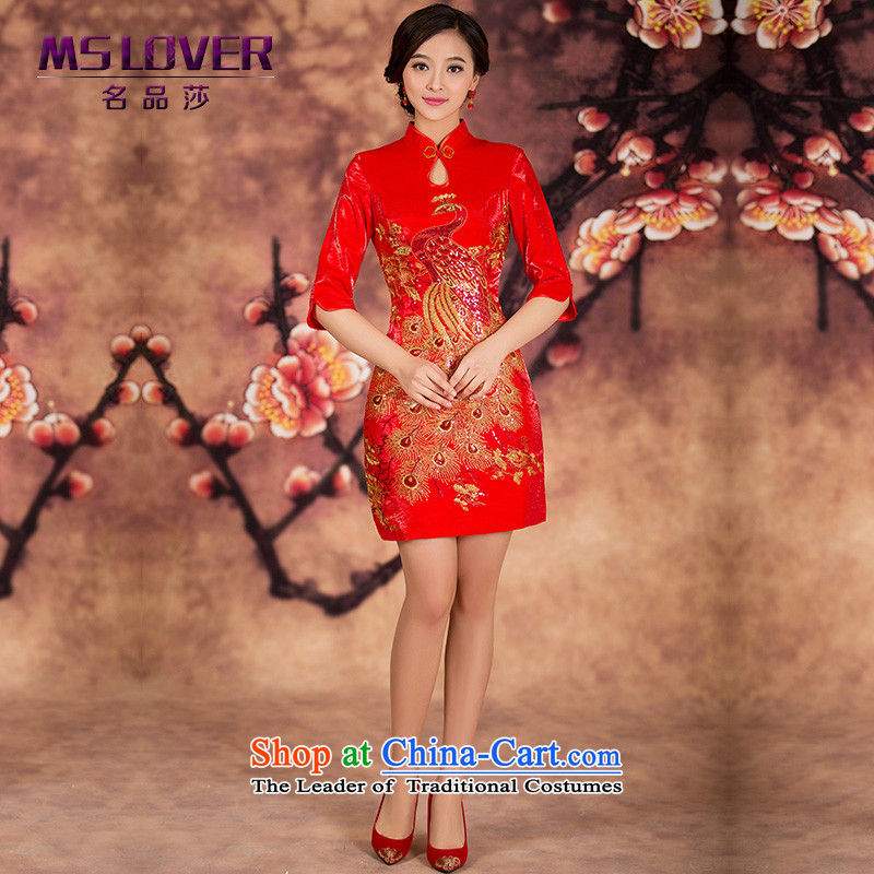 ?In cuff embroidered Bong-mslover short qipao bride wedding dress wedding improved short_ bows services for winter?QP141214 qipao?RED?M 2 feet 1 waist