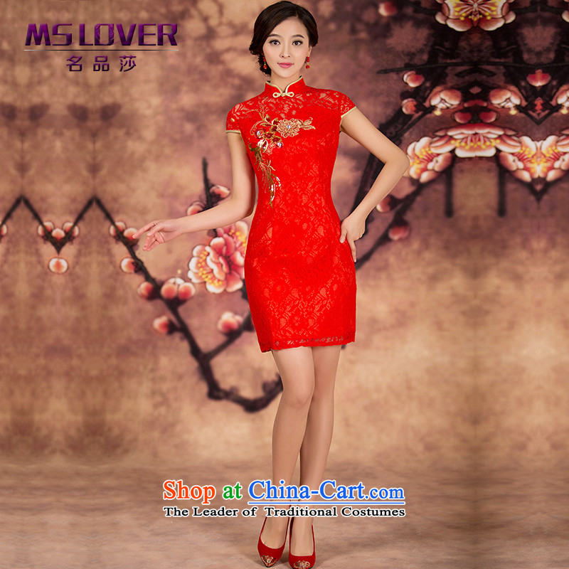 Mslover爈ace Mudan short qipao Chinese Short, red lace qipao bride bows services marriage wedding dress燪P141215燫ED燤 2 feet 1 waist