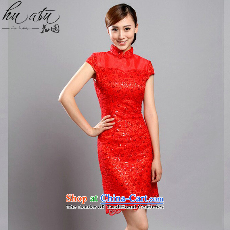 Floral cheongsam dress Summer 2015 of Chinese improved collar embroidered bead lace qipao cheongsam banquet qipao bride red燲L