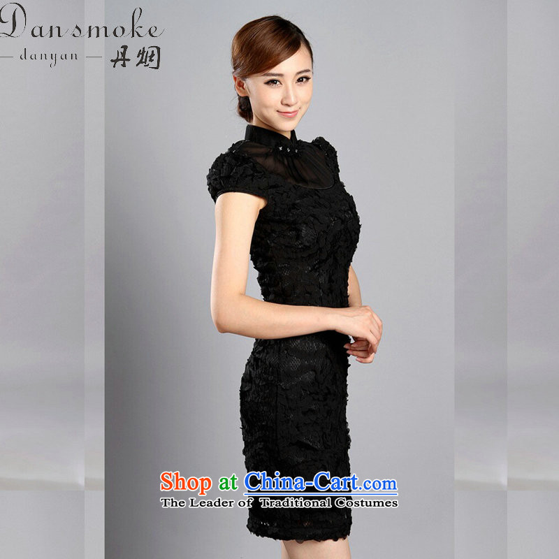 Dan smoke cheongsam dress Summer 2015 of Chinese improved collar embroidered bead lace qipao cheongsam banquet qipao�893# bride black�L