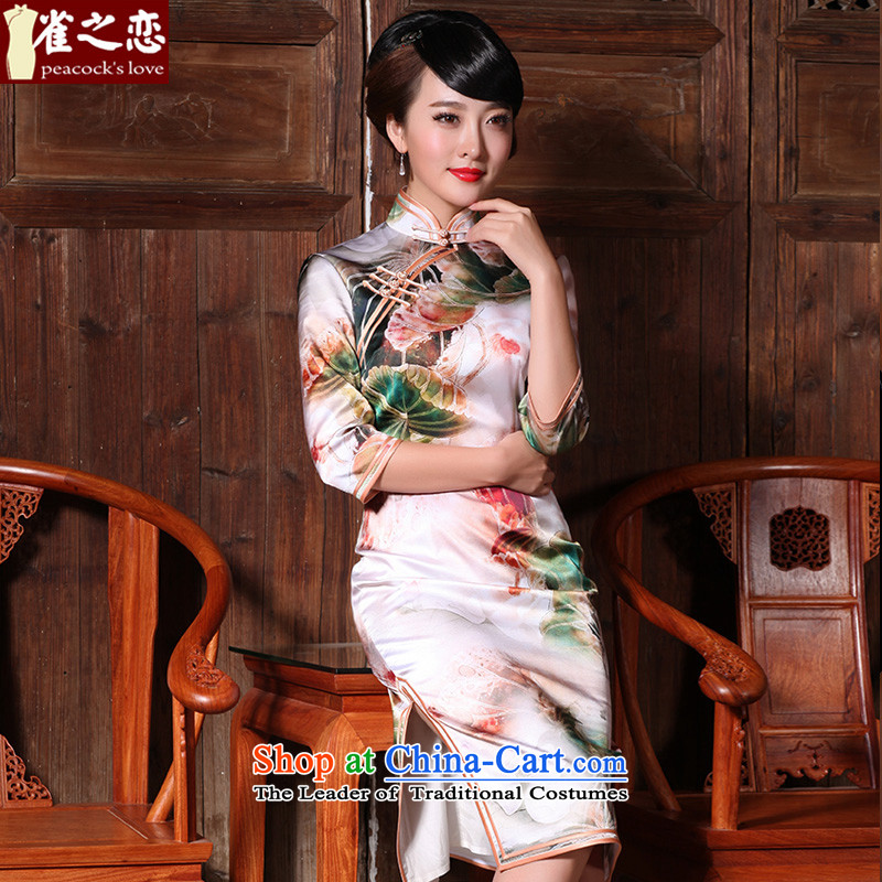 Love of birds dark warm spring 2015 dust incense new elegant retro in cuff improved Silk Cheongsam Suit M