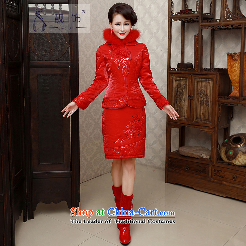 The new 2015 International Friendship bride Winter Package qipao thick red cotton folder marriage bows services red clip cotton qipao?006 S