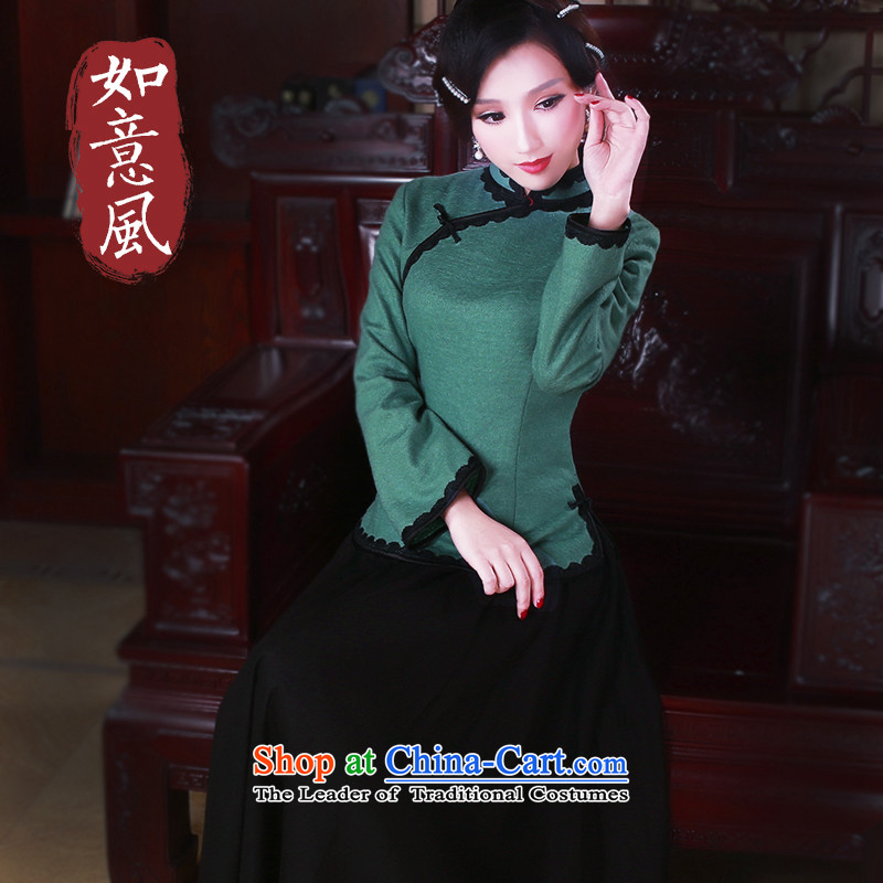 After a new wind 2015 Original Ms. Tang dynasty qipao shirt autumn and winter China wind Tang dynasty women 5062 hole blue XL